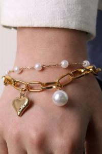 Bransoletka łańcuch i perły z sercem...