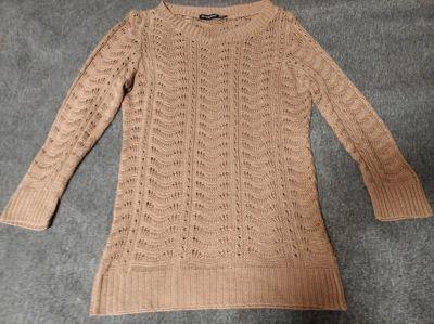 Swetry Beżowy ażurowy sweterek Atmosphere XS S