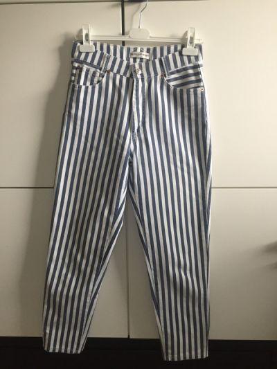 Spodnie Mom jeans boyfriend w paski
