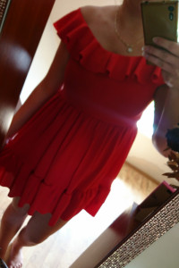 Nowa piekna czerwona sukieneczka falbany hiszpanka...