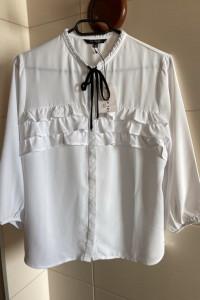 Biała elegancka koszula bluzka falbanki nowa z metką top secret S 36
