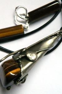 Biżuteria w stylu Tiffany wisior i kolczyki Tygrysie oko...