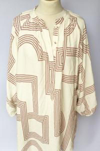 Bluzka H&M Wzory Kremowa XL 42 Oversize Tunika...