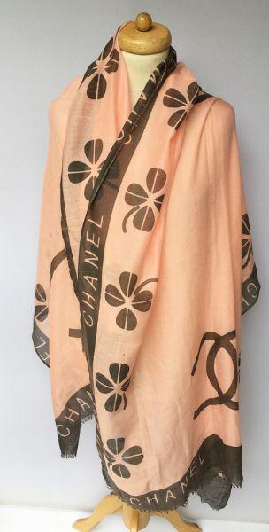 Szaliki i szale Szal Szalik Pomarańczowy Chanel 184 cm Narzutka Kwiaty