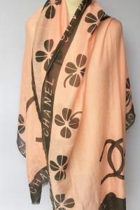 Szal Szalik Pomarańczowy Chanel 184 cm Narzutka Kwiaty...