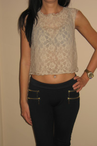 Beżowy koronkowy crop top H&M XS 34...