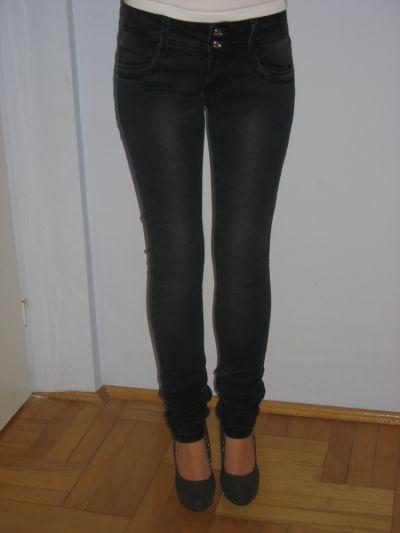 Spodnie Marmurki ciemne spodnie jeansy rurki XS S 34 36