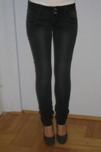 Marmurki ciemne spodnie jeansy rurki XS S 34 36...