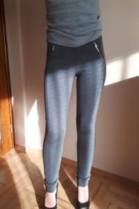 Szare spodnie legginsy zamki Cubus XS 34...