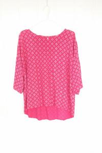 Różowa bluzka tunika Unisono L 40 wzór wiskoza na lato asymetry...
