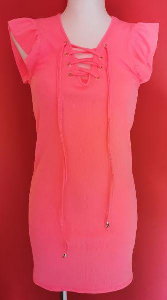 Suknie i sukienki Sukienka prążek sznurowany dekold