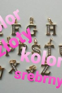 Zawieszka literka kolor złoty srebrny z cyrkoniami 15cm...