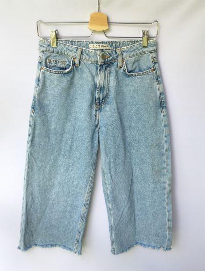 Spodnie Spodnie 7 8 Dzinsowe Jeansy Denim Co Postrzępione S 36