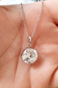 Zawieszka okrągły kryształ kolor srebrny stal chirurgiczna 316L...