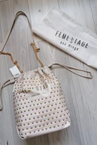FemeStage be Eva Minge torebka skórzana kremowa pudrowa złoto
