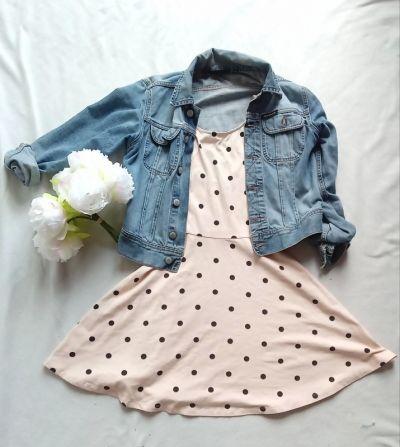 Suknie i sukienki Sukienka dresowa dzianinowa letnia w groszki grochy kropki h&m urocza pudrowy róż rozkloszowana zwiewna