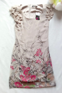 Sukienka elegancka prosta szyfonowa koktajlowa w kwiaty S