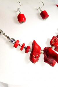 Koral czerwony naturalny unikatowa biżuteria zestaw...