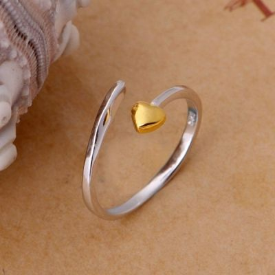 Pierścionki Nowy pierscionek posrebrzany 925 pozlacany srebrny zlote serce serduszko