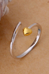 Nowy pierscionek posrebrzany 925 pozlacany srebrny zlote serce serduszko