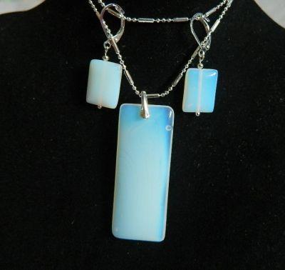 Komplety Opal biały mleczny prostokąty w srebrze zestaw biżuterii
