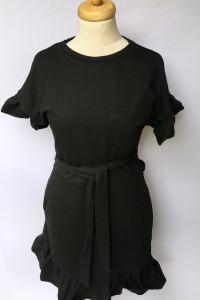 Sukienka Dresowa Czarna H&M Falbanka S 36 Elegancka...