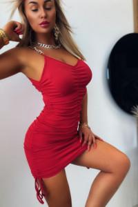 Sexy Sukienka Z Marszczeniem Red...
