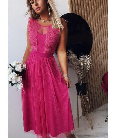 Suknie i sukienki Sukienka Koronkowa Luxury Fuksja