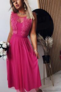 Sukienka Koronkowa Luxury Fuksja