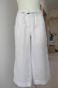 Spodnie Lniane Białe Kuloty Culotte Szerokie Nogawki Atmosphere...