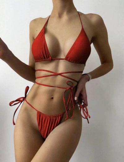 Stroje kąpielowe kostium kąpielowy dwuczęściowy czerwony L 40 shein sheinside