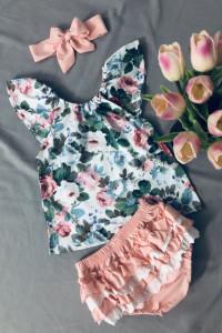 Komplet dziewczęcy Kwiaty Bluzka Bloomersy...