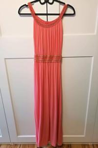 Długa maxi sukienka koralowa rozmiar s koral...