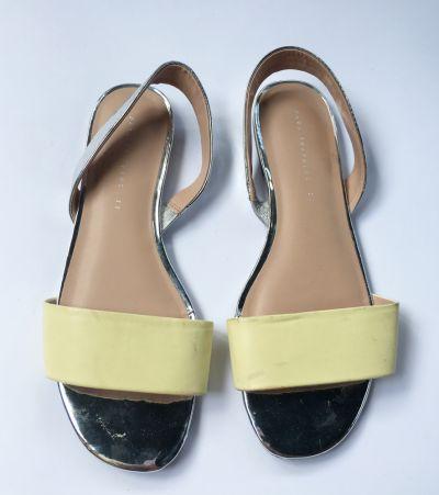 Sandały Sandały Zara Trafaluc 39 Żółte Sandałki Srebrne