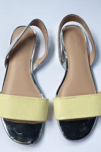 Sandały Zara Trafaluc 39 Żółte Sandałki Srebrne