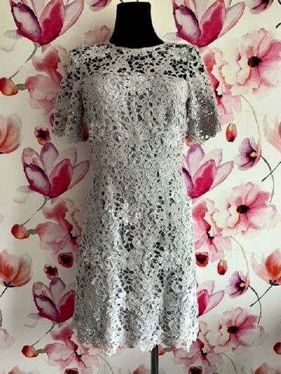 Suknie i sukienki reiss sukienka elegancka gipiura cekiny jak nowa hit 36