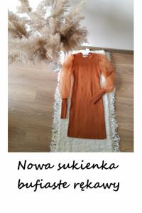 Nowa sukienka camel bufiaste rękawy S M L balonowe rękawy hit...