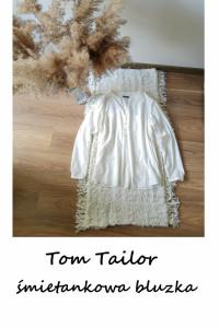 Śmietankowa bluzka Tom Tailor Basic bawełna wiskoza...