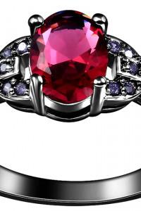 Nowy czarny pierścionek czerwona cyrkonia oczko kamień fioletowe cyrkonie dark goth retro