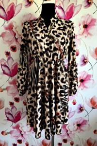 moda italia sukienka modny print panterka zebra łańcuszki nowa ...