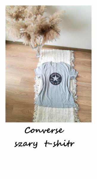 T-shirt Bawełniany t shirt converse L XL bawełna szara koszulka