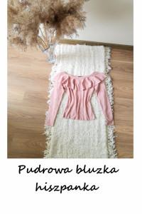 Pudrowa dzianinowa bluzka hiszpanka XS S sweterek pudrowy róż