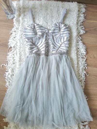 Suknie i sukienki Zjawiskowa koktajlowa szaro srebrna sukienka wesele impreza tiul