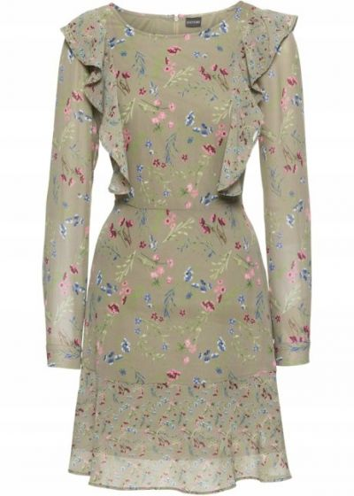 Suknie i sukienki Nowa sukienka BonPrix 50 5XL pluz size zielona w kwiaty łączka szyfon midi rozkloszowana krótka