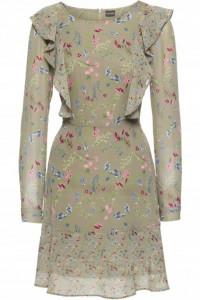 Nowa sukienka BonPrix 50 5XL pluz size zielona w kwiaty łączka szyfon midi rozkloszowana krótka