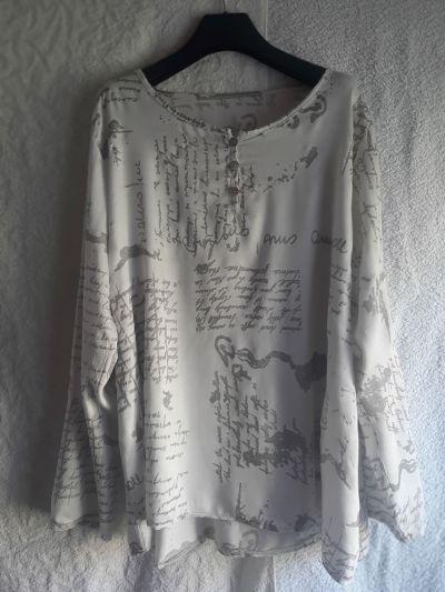 Koszule Włoska bluzka koszula oversize biała ze srebrnymi napisami