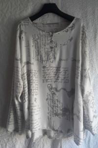 Włoska bluzka koszula oversize biała ze srebrnymi napisami...