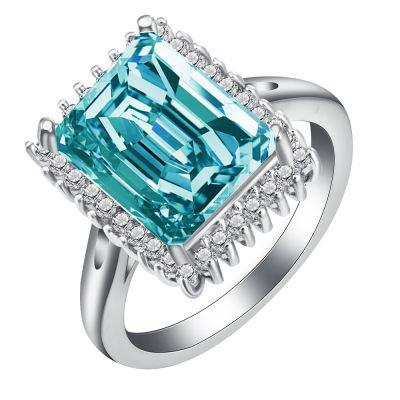 Pierścionki Nowy pierścionek srebrny kolor duża prostokątna cyrkonia niebieska małe białe oczka