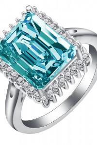 Nowy pierścionek srebrny kolor duża prostokątna cyrkonia niebieska małe białe oczka