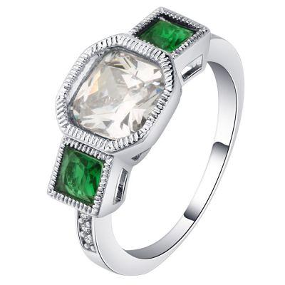 Pierścionki Nowy pierścionek srebrny kolor białe oczko zielone cyrkonie retro